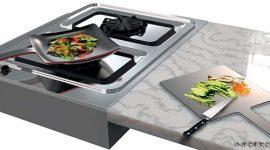 Необычная разделочная доска Curling Pan, превращающаяся в сковороду