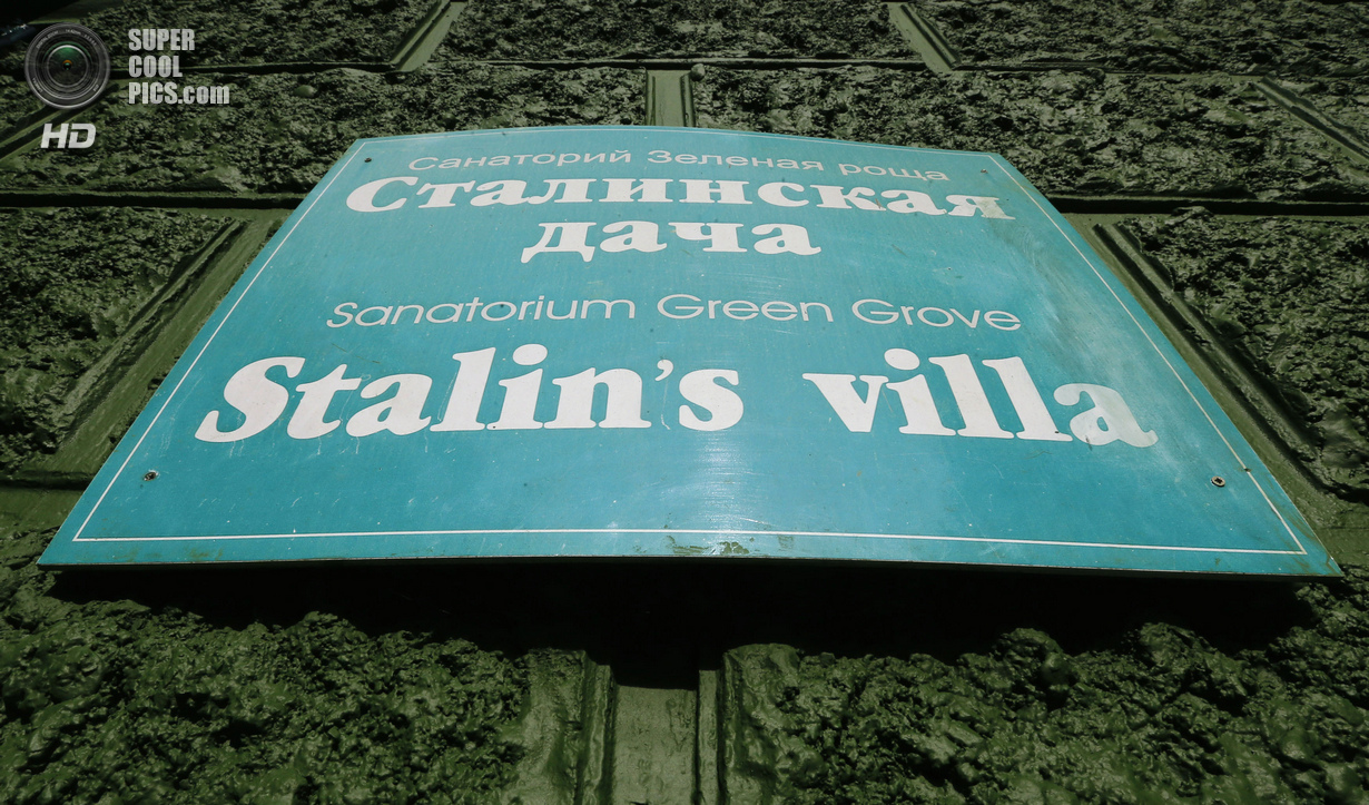 Signboard of Soviet dictator Joseph Stalinís Villa is seen in Sochi