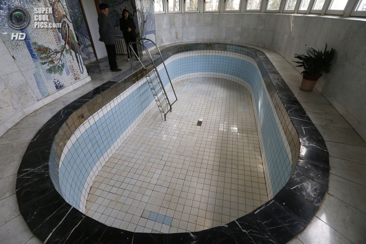 People visit the pool of Soviet dictator Joseph Stalin at Stalinís Villa in Sochi