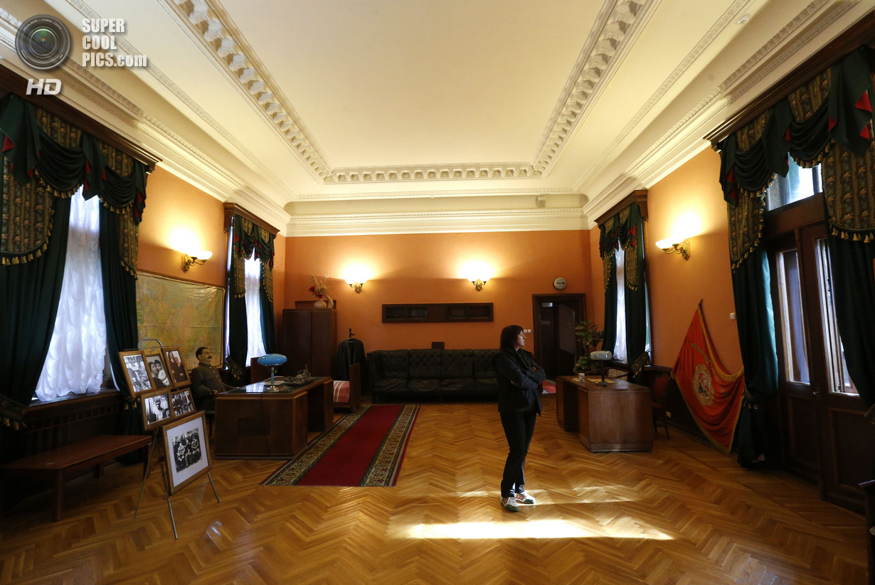 Visitor looks on inside a cinema hall of Soviet dictator Joseph Stalinís Villa in Sochi